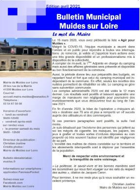 Couverture Bulletin municipal Avril 2021
